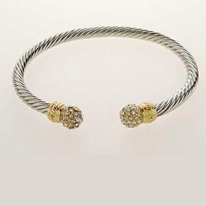 Brass Gold Cabled Twist Cuff Bracelet